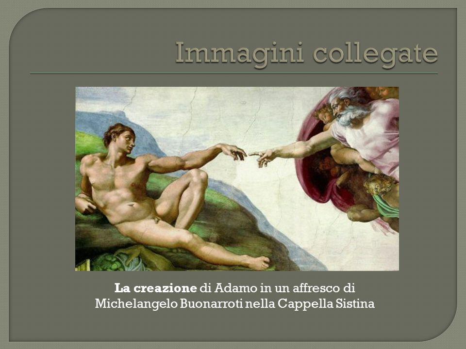 Immagini collegate La creazione di Adamo in un affresco di Michelangelo Buonarroti nella Cappella Sistina.