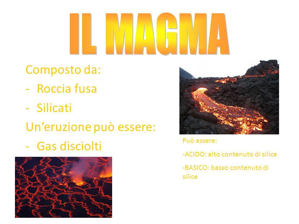 IL MAGMA Composto da: Roccia fusa Silicati Un'eruzione può essere: