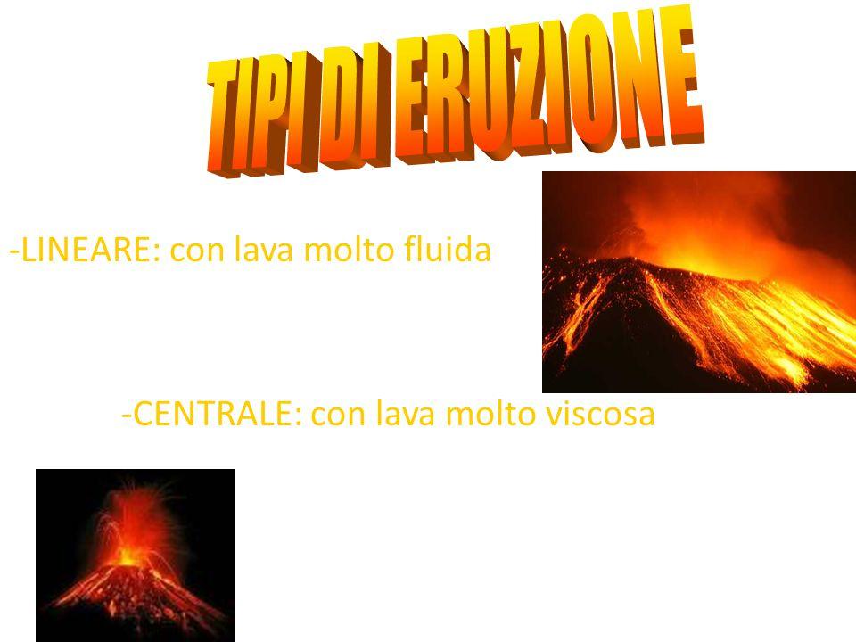 TIPI DI ERUZIONE -LINEARE: con lava molto fluida