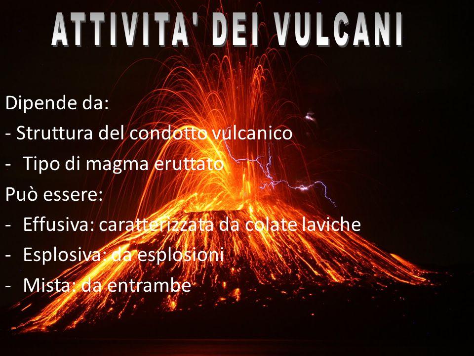 ATTIVITA DEI VULCANI Dipende da: - Struttura del condotto vulcanico