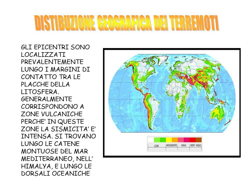 DISTIBUZIONE GEOGRAFICA DEI TERREMOTI