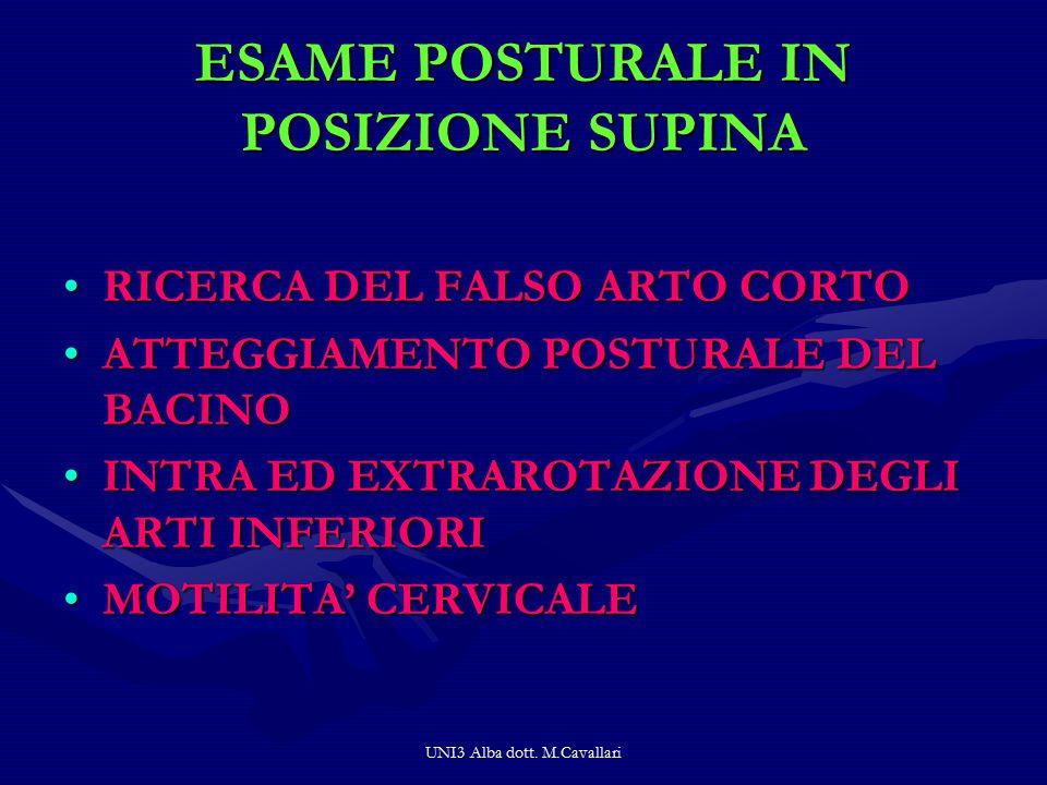 ESAME POSTURALE IN POSIZIONE SUPINA