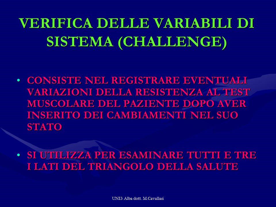 VERIFICA DELLE VARIABILI DI SISTEMA (CHALLENGE)