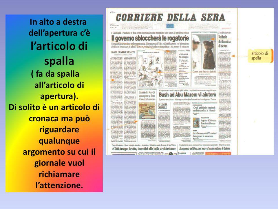 In alto a destra dell'apertura c'è l'articolo di spalla ( fa da spalla all'articolo di apertura).