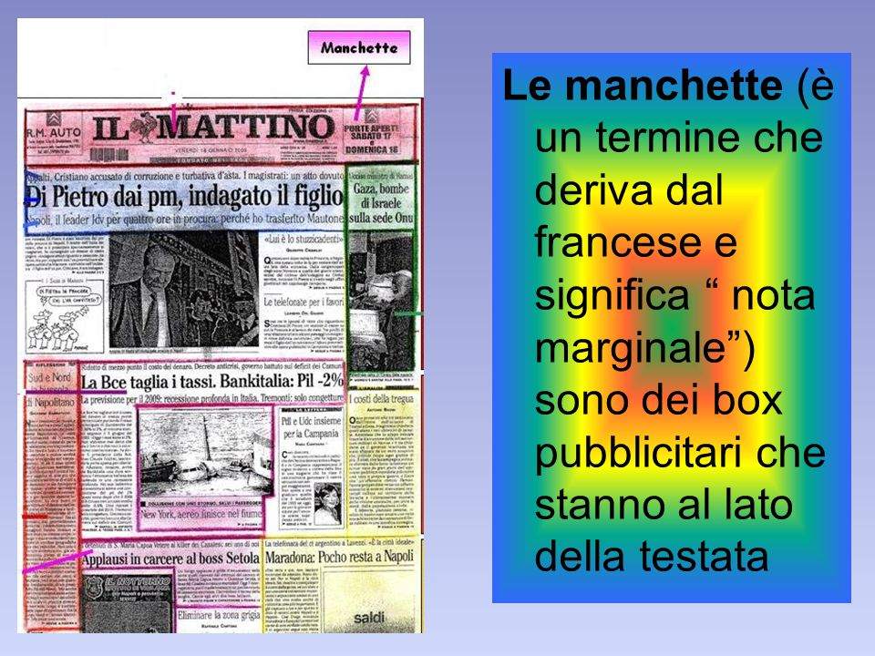 Le manchette (è un termine che deriva dal francese e significa nota marginale ) sono dei box pubblicitari che stanno al lato della testata