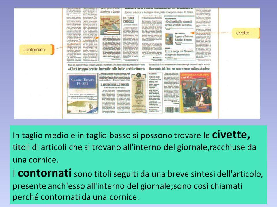 In taglio medio e in taglio basso si possono trovare le civette, titoli di articoli che si trovano all interno del giornale,racchiuse da una cornice.