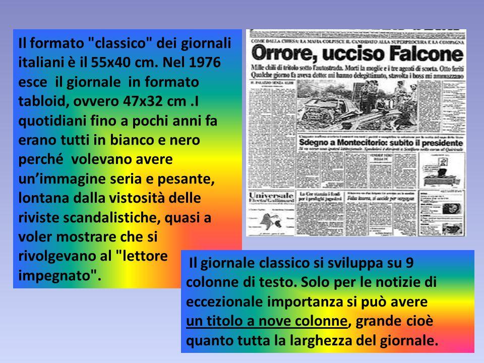 Il formato classico dei giornali italiani è il 55x40 cm