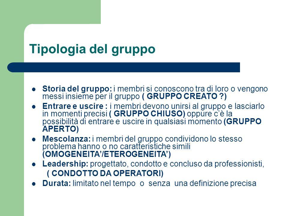 Tipologia del gruppo Storia del gruppo: i membri si conoscono tra di loro o vengono messi insieme per il gruppo ( GRUPPO CREATO )