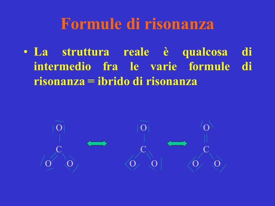 Formule di risonanza La struttura reale è qualcosa di intermedio fra le varie formule di risonanza = ibrido di risonanza.