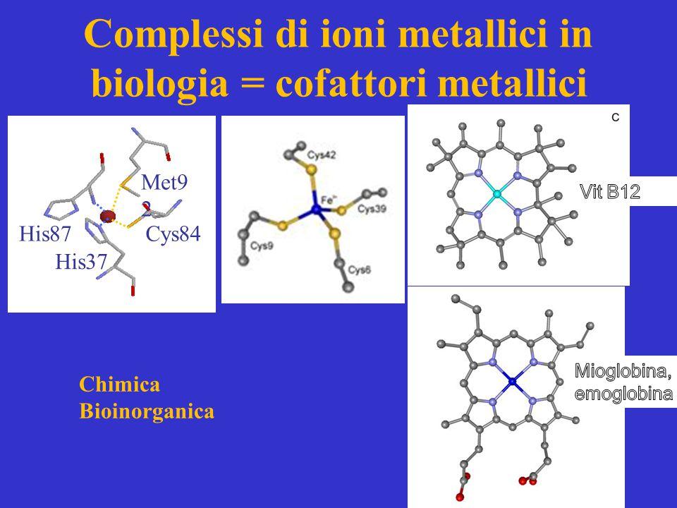 Complessi di ioni metallici in biologia = cofattori metallici