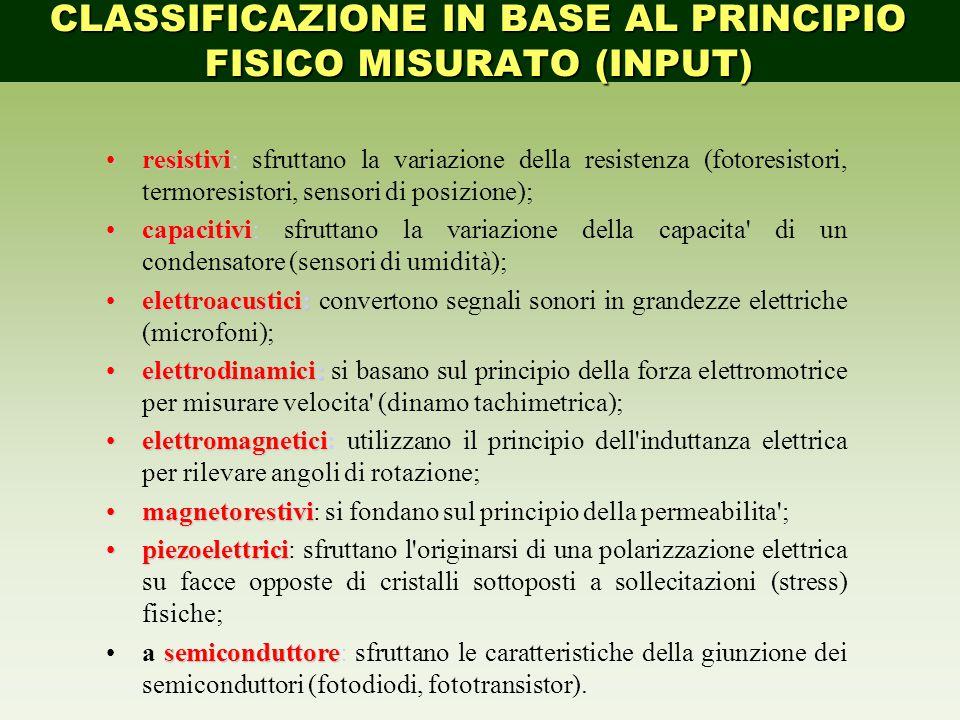 CLASSIFICAZIONE IN BASE AL PRINCIPIO FISICO MISURATO (INPUT)