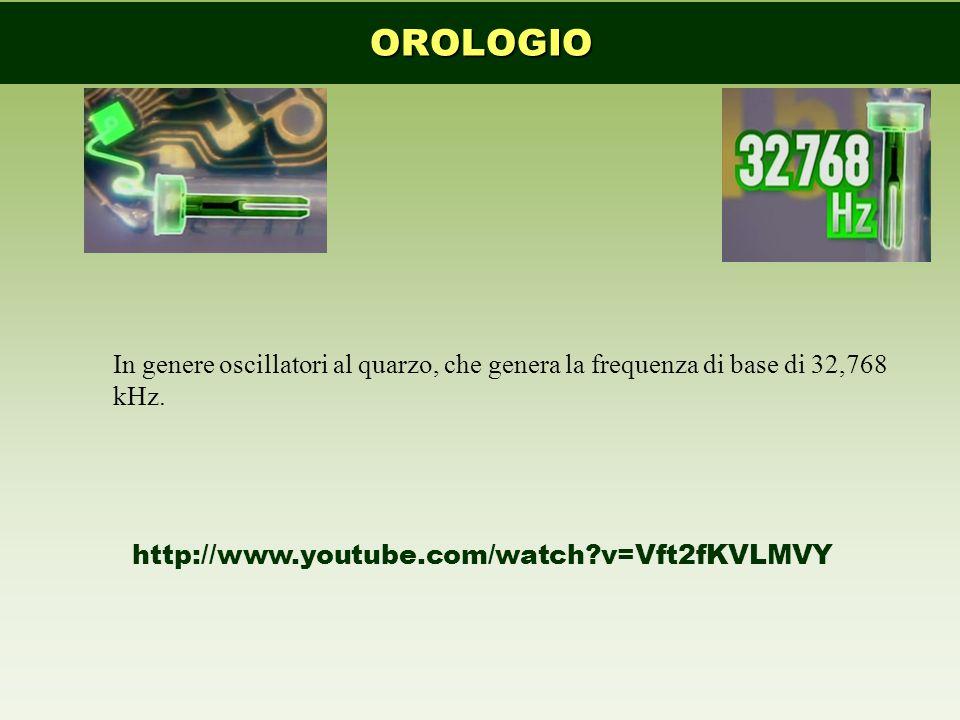 OROLOGIO In genere oscillatori al quarzo, che genera la frequenza di base di 32,768 kHz.