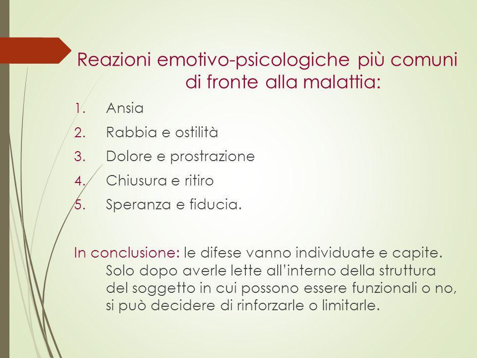 Reazioni emotivo-psicologiche più comuni di fronte alla malattia:
