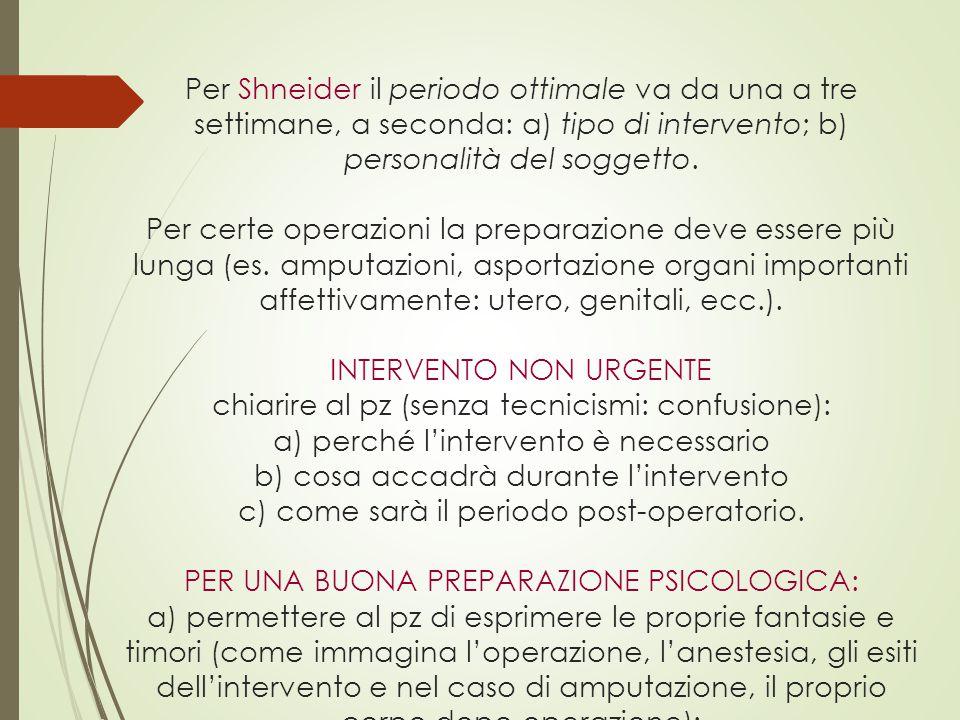 Per Shneider il periodo ottimale va da una a tre settimane, a seconda: a) tipo di intervento; b) personalità del soggetto.