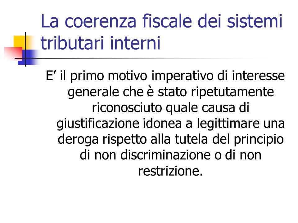 La coerenza fiscale dei sistemi tributari interni