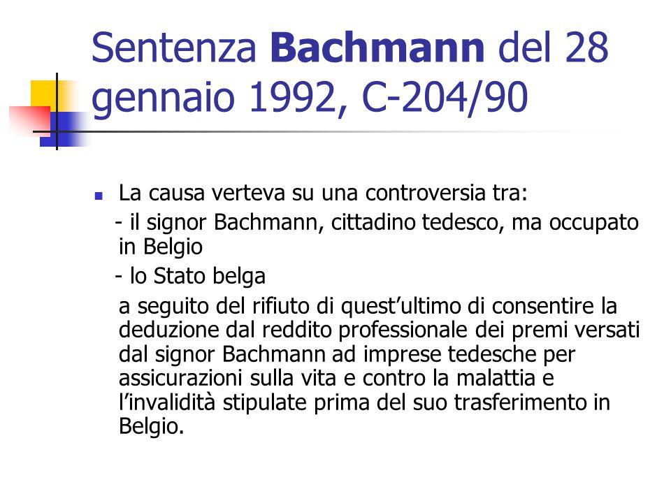 Sentenza Bachmann del 28 gennaio 1992, C-204/90
