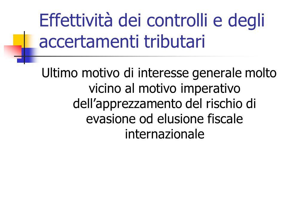 Effettività dei controlli e degli accertamenti tributari