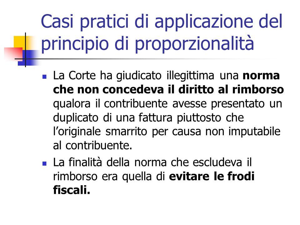 Casi pratici di applicazione del principio di proporzionalità