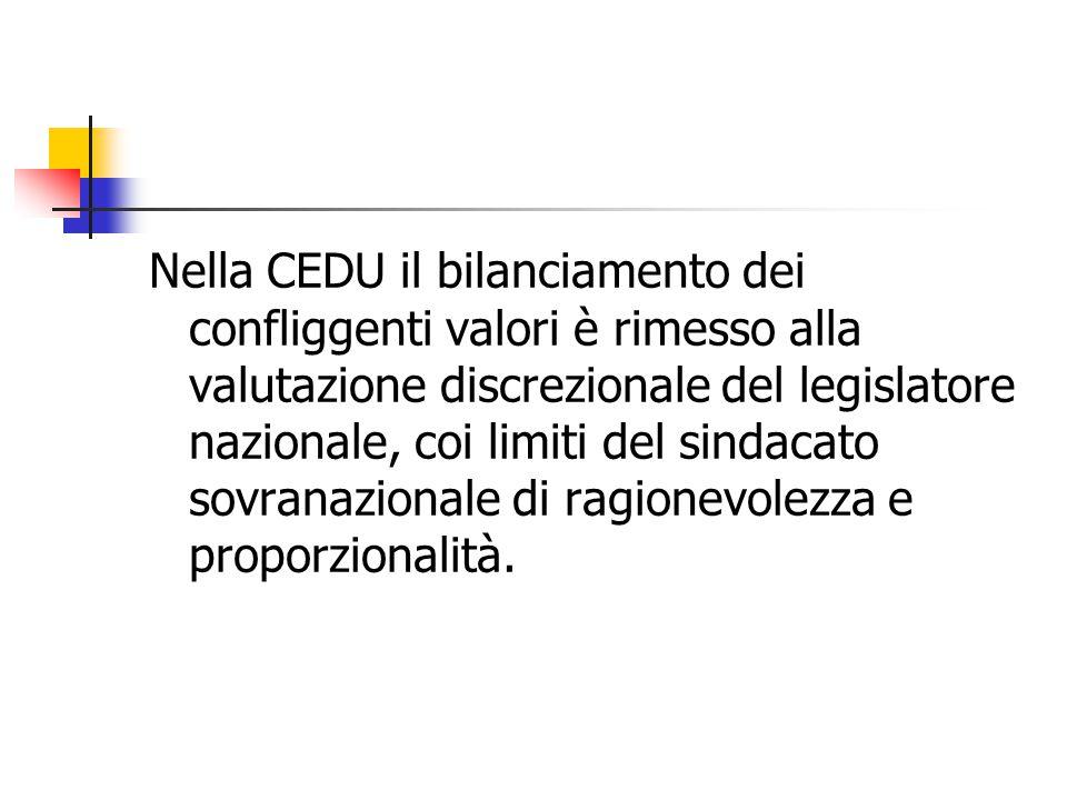 Nella CEDU il bilanciamento dei confliggenti valori è rimesso alla valutazione discrezionale del legislatore nazionale, coi limiti del sindacato sovranazionale di ragionevolezza e proporzionalità.