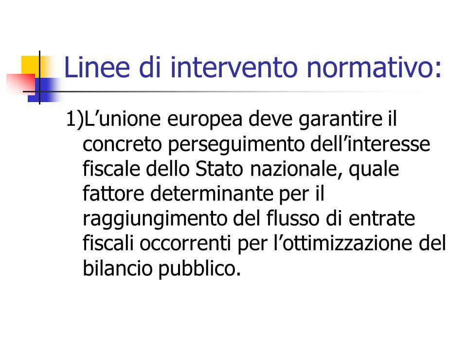 Linee di intervento normativo: