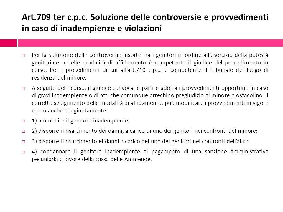 Art.709 ter c.p.c. Soluzione delle controversie e provvedimenti in caso di inadempienze e violazioni