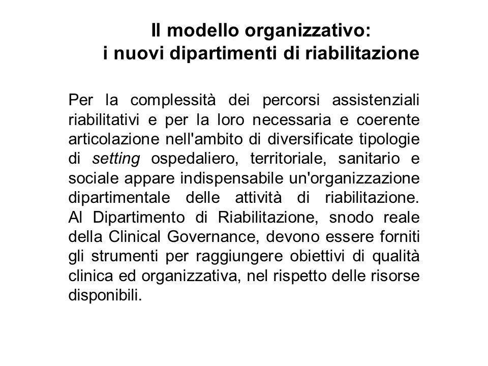 Il modello organizzativo: i nuovi dipartimenti di riabilitazione
