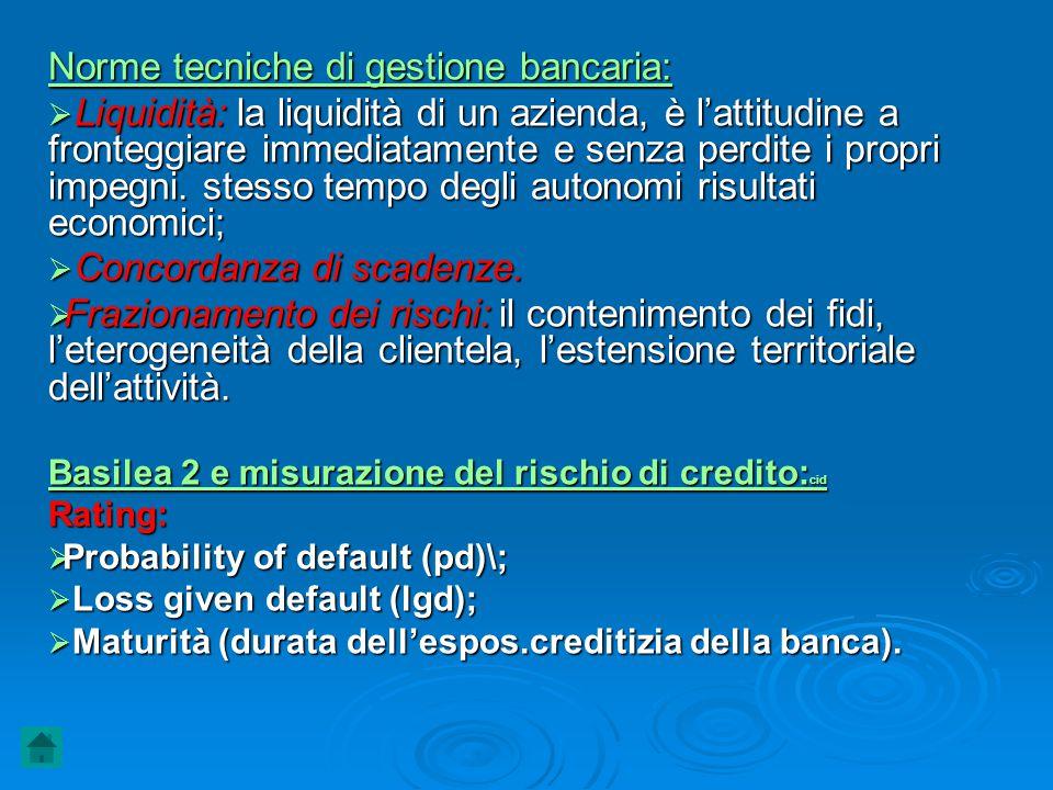 Norme tecniche di gestione bancaria:
