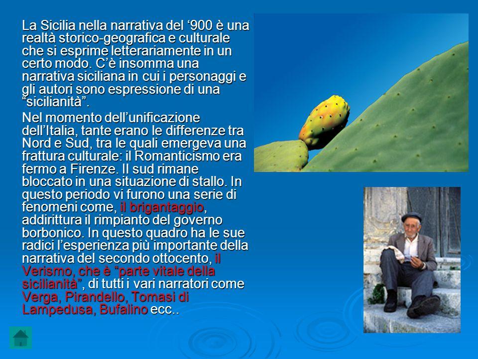 La Sicilia nella narrativa del '900 è una realtà storico-geografica e culturale che si esprime letterariamente in un certo modo. C'è insomma una narrativa siciliana in cui i personaggi e gli autori sono espressione di una sicilianità .