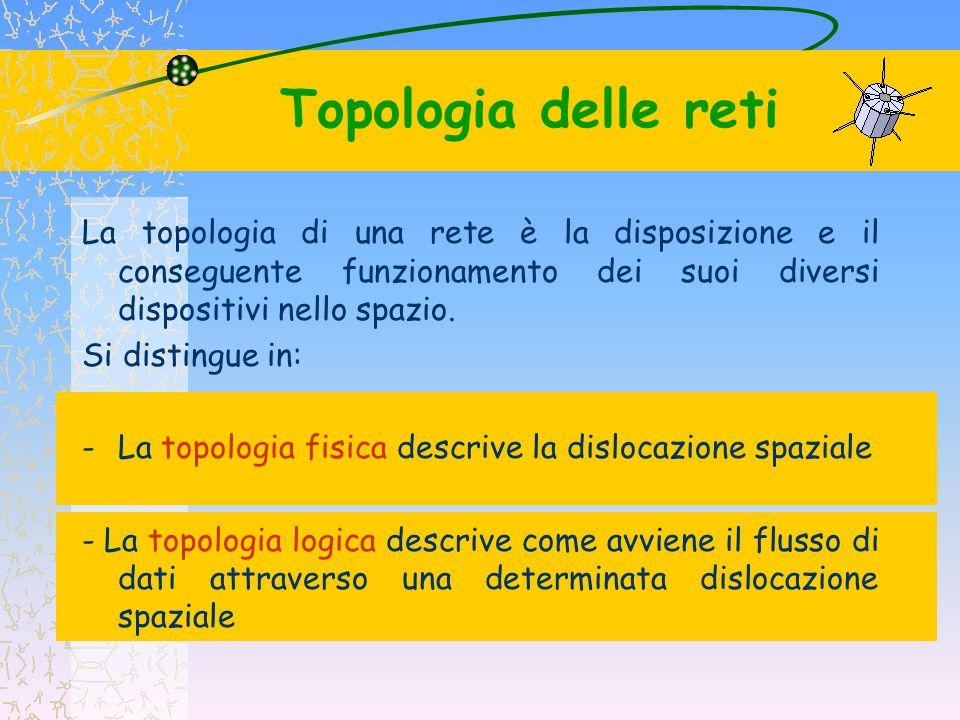 Topologia delle reti La topologia di una rete è la disposizione e il conseguente funzionamento dei suoi diversi dispositivi nello spazio.