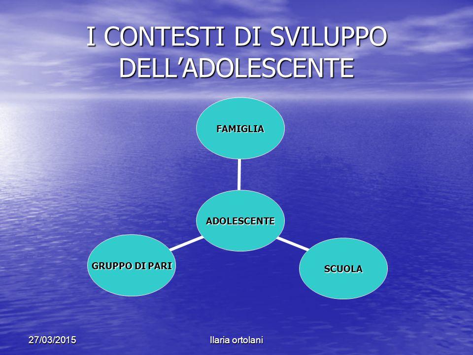 I CONTESTI DI SVILUPPO DELL'ADOLESCENTE