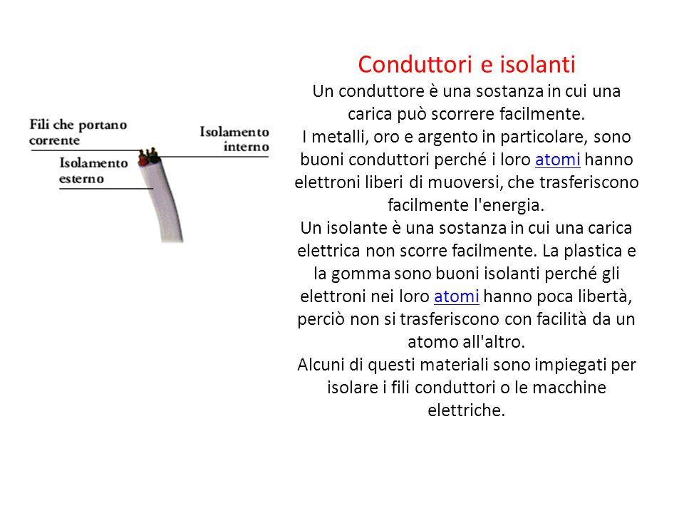 Conduttori e isolanti Un conduttore è una sostanza in cui una carica può scorrere facilmente.