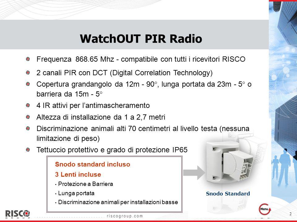 WatchOUT PIR Radio Frequenza 868.65 Mhz - compatibile con tutti i ricevitori RISCO. 2 canali PIR con DCT (Digital Correlation Technology)