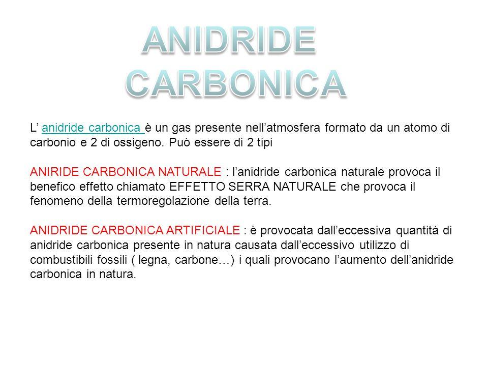ANIDRIDE CARBONICA. L' anidride carbonica è un gas presente nell'atmosfera formato da un atomo di carbonio e 2 di ossigeno. Può essere di 2 tipi.