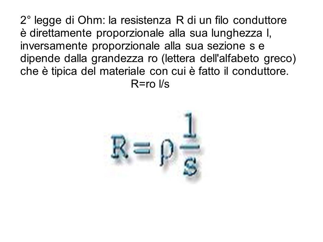 2° legge di Ohm: la resistenza R di un filo conduttore