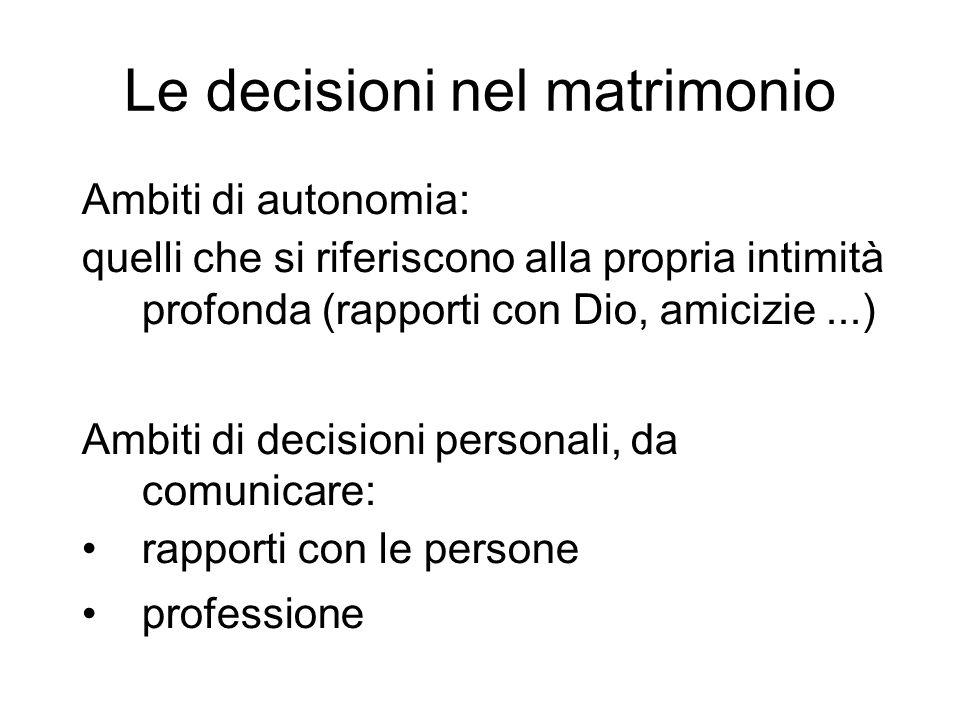 Le decisioni nel matrimonio