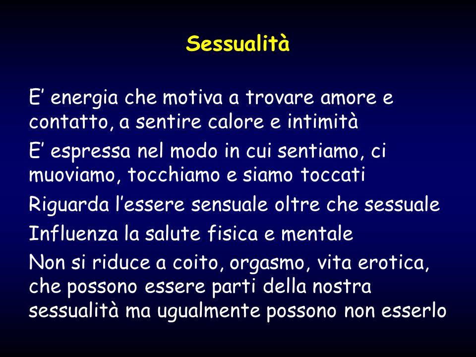 Sessualità E' energia che motiva a trovare amore e contatto, a sentire calore e intimità.
