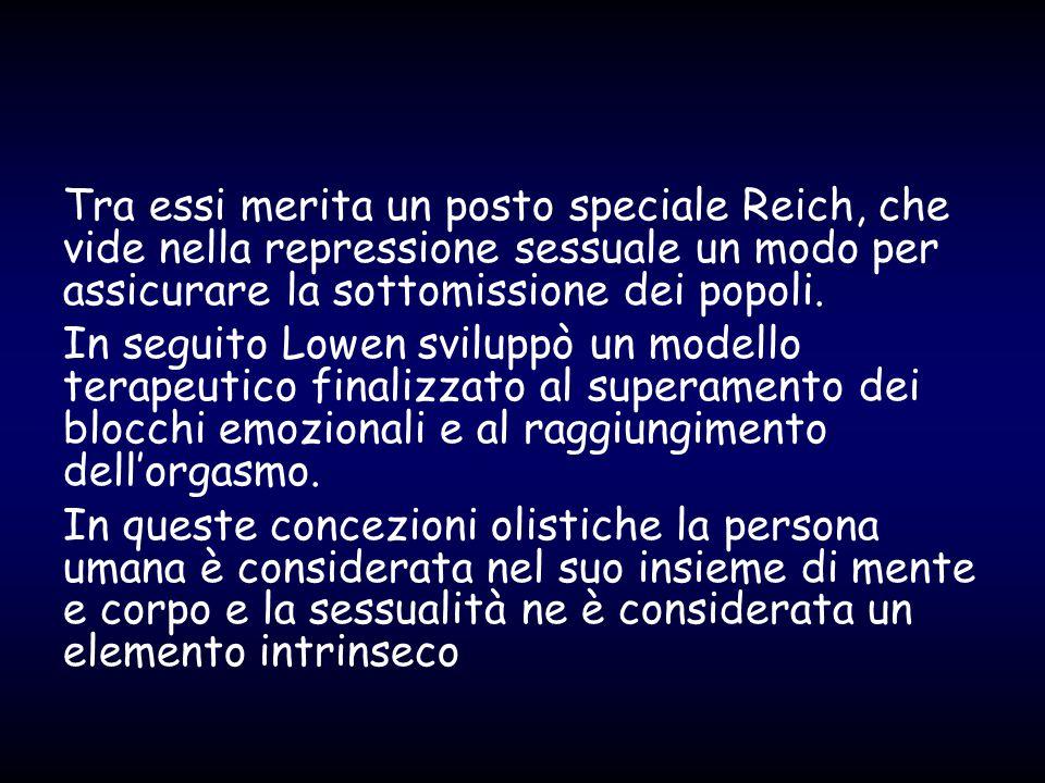 Tra essi merita un posto speciale Reich, che vide nella repressione sessuale un modo per assicurare la sottomissione dei popoli.