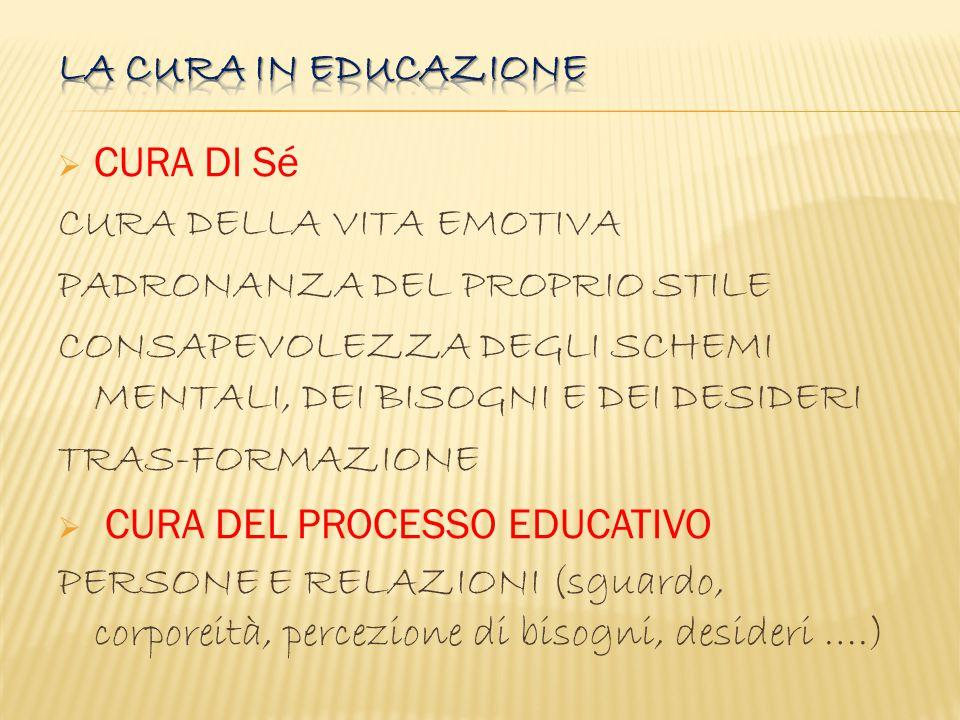La cura in educazione CURA DI Sé. CURA DELLA VITA EMOTIVA. PADRONANZA DEL PROPRIO STILE.