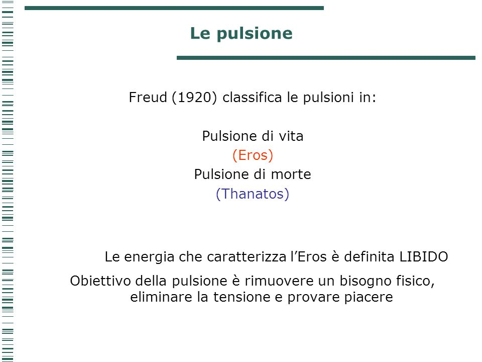 Le pulsione Freud (1920) classifica le pulsioni in: Pulsione di vita