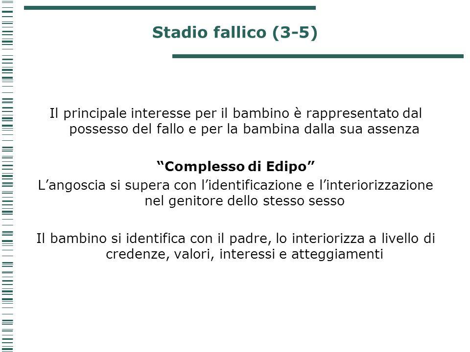 Stadio fallico (3-5) Il principale interesse per il bambino è rappresentato dal possesso del fallo e per la bambina dalla sua assenza.