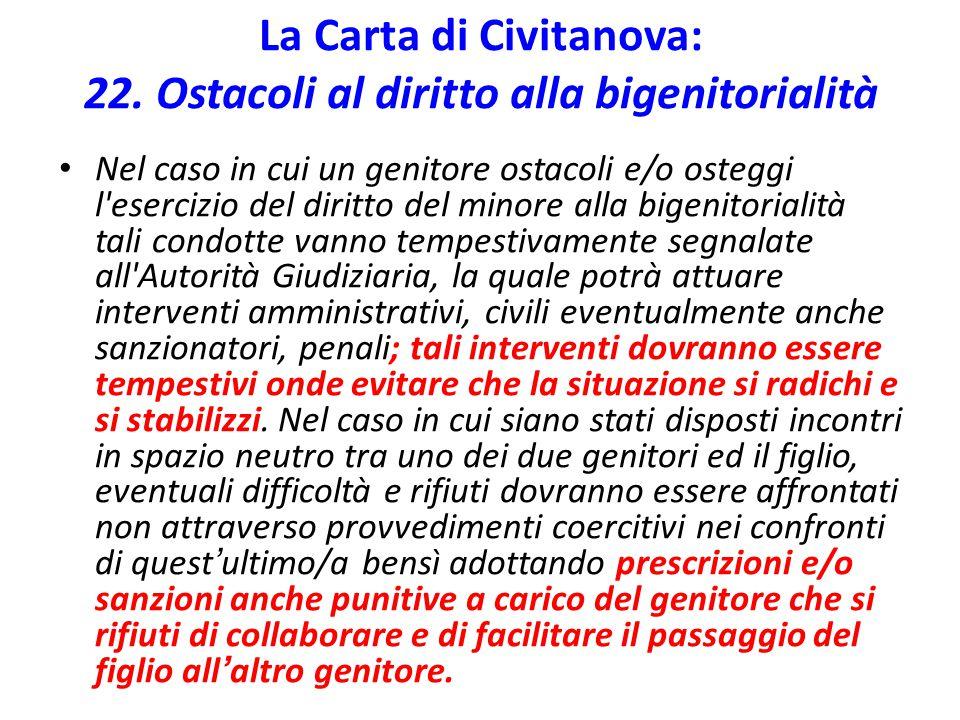 La Carta di Civitanova: 22. Ostacoli al diritto alla bigenitorialità