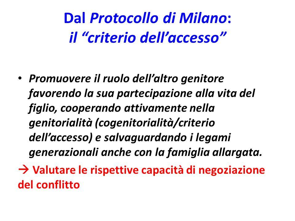 Dal Protocollo di Milano: il criterio dell'accesso