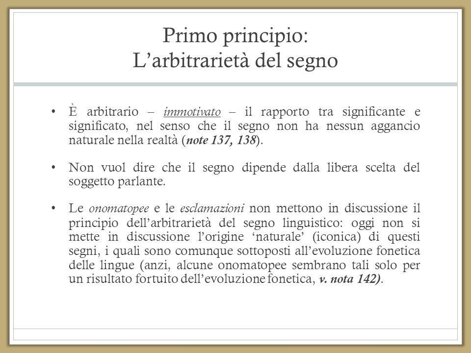 Primo principio: L'arbitrarietà del segno