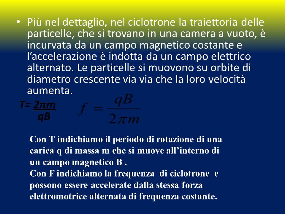 Più nel dettaglio, nel ciclotrone la traiettoria delle particelle, che si trovano in una camera a vuoto, è incurvata da un campo magnetico costante e l'accelerazione è indotta da un campo elettrico alternato. Le particelle si muovono su orbite di diametro crescente via via che la loro velocità aumenta.
