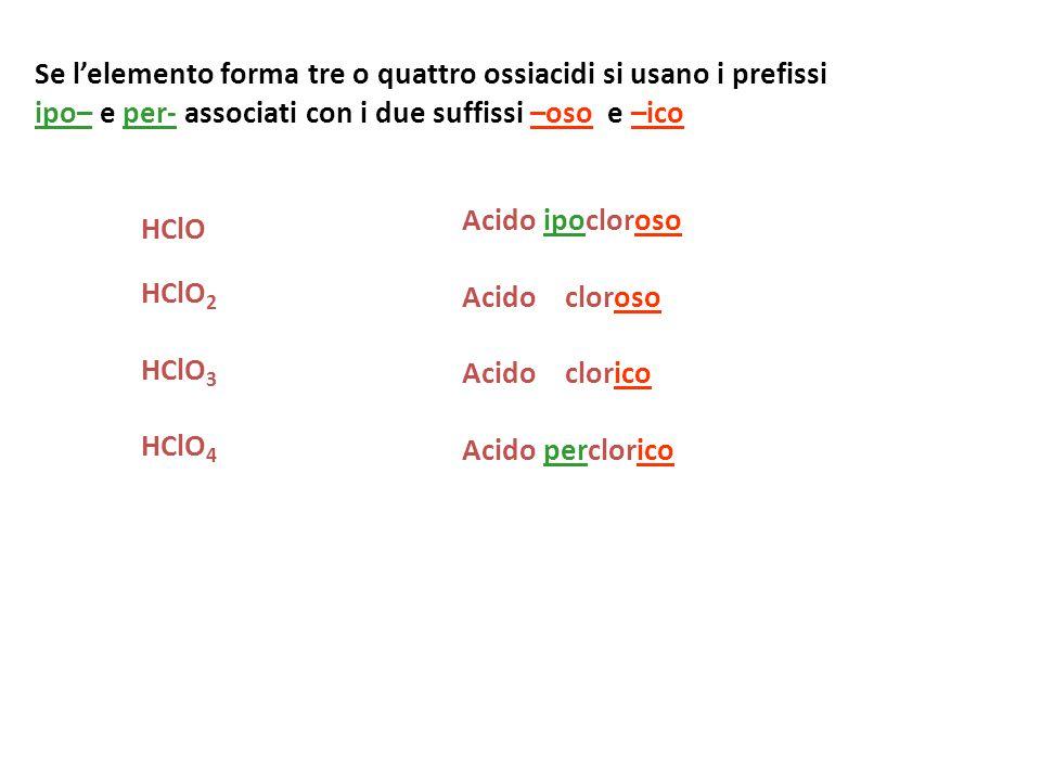Se l'elemento forma tre o quattro ossiacidi si usano i prefissi