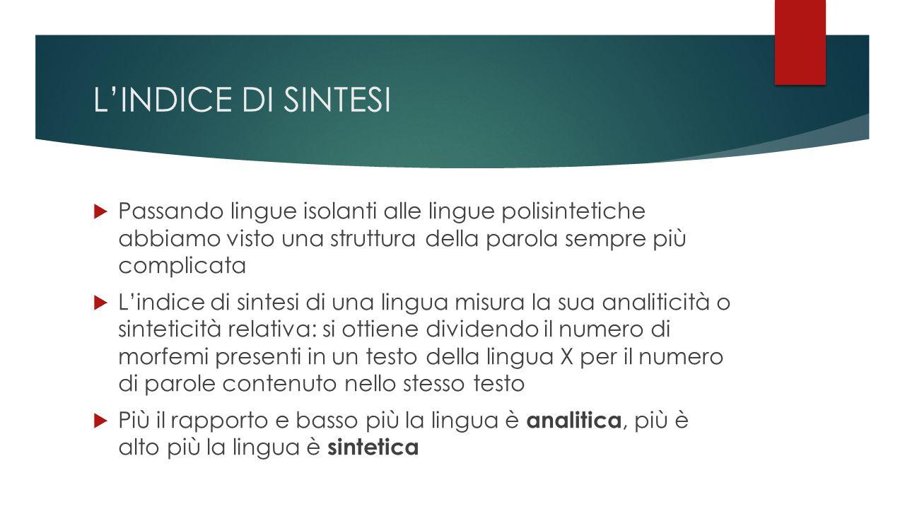 L'INDICE DI SINTESI Passando lingue isolanti alle lingue polisintetiche abbiamo visto una struttura della parola sempre più complicata.