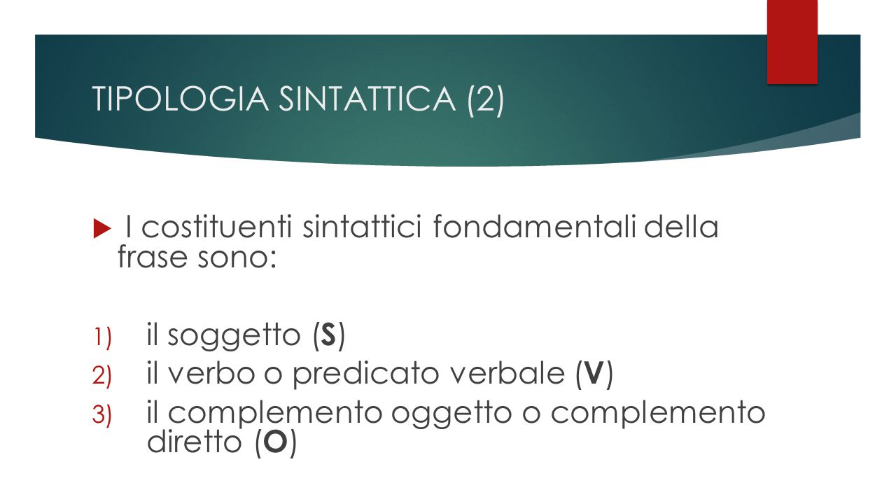 TIPOLOGIA SINTATTICA (2)