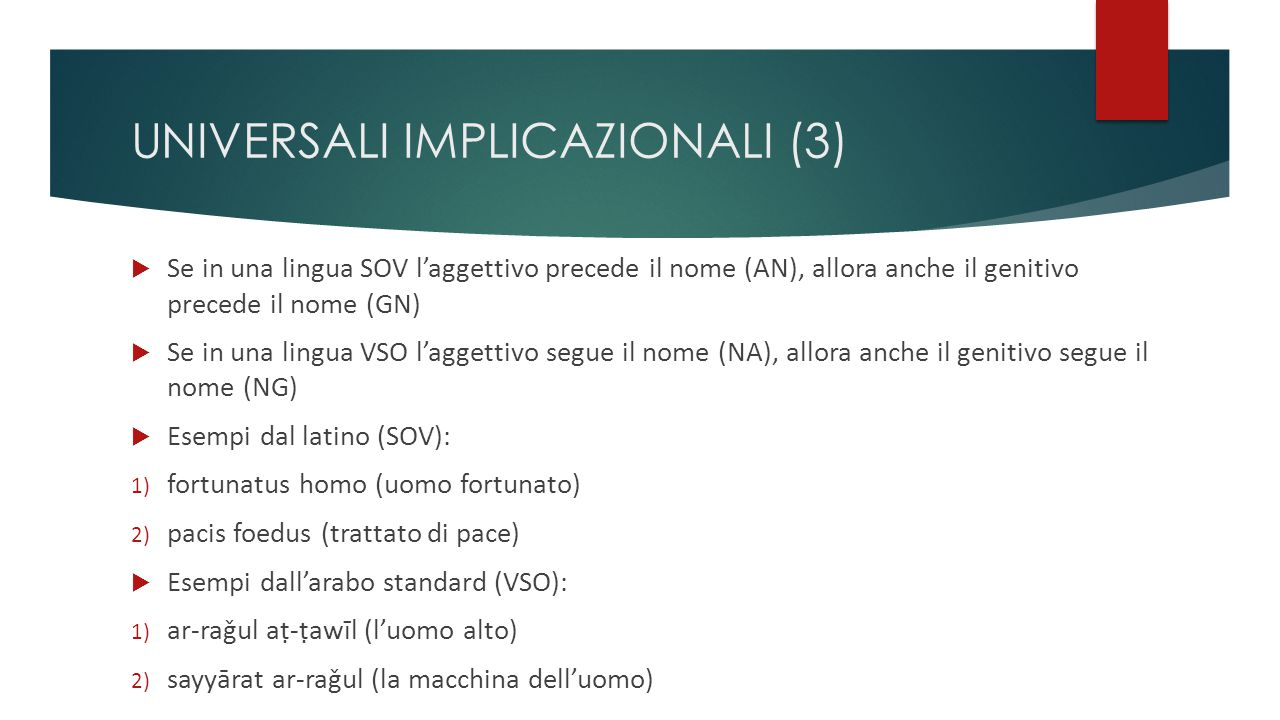 UNIVERSALI IMPLICAZIONALI (3)