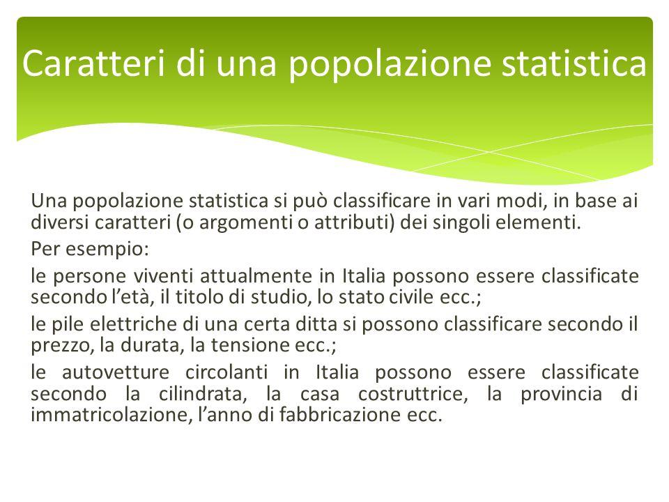 Caratteri di una popolazione statistica
