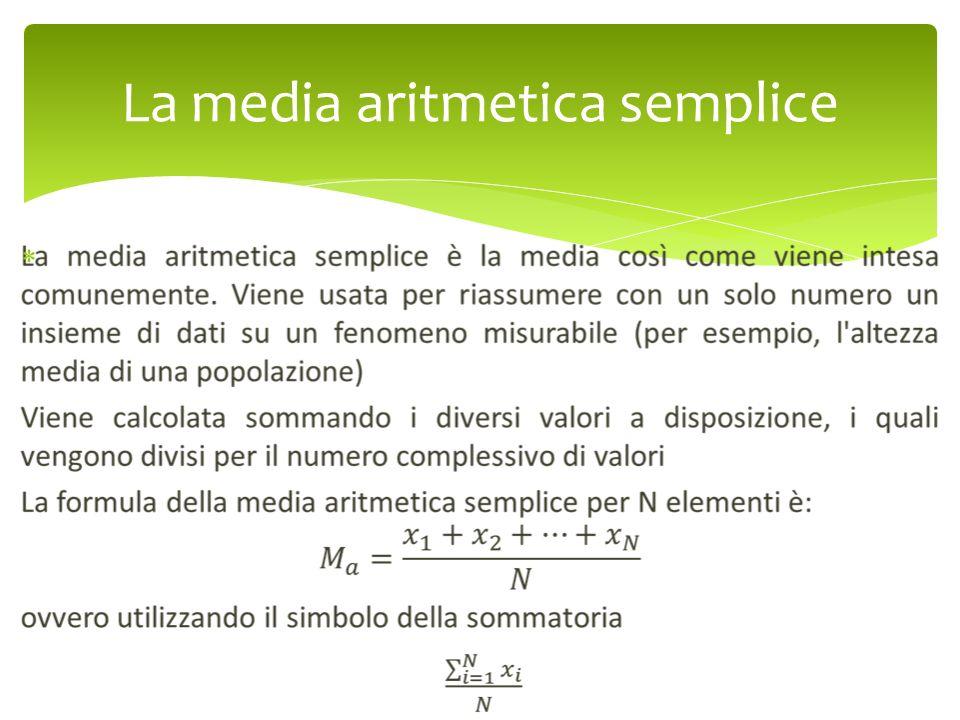 La media aritmetica semplice